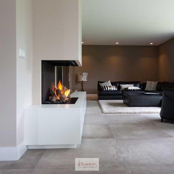 Strak design meubel om een gashaard
