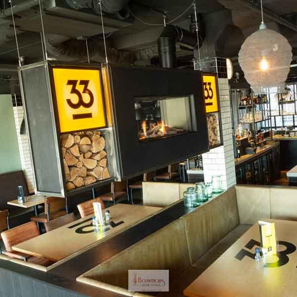 Wat een eerste indruk bij het binnenkomen bij Restaurant 33GoodFood te Helmond. Sfeervol met de verlichting naar de haard van DRU dealer Bouwmans Vuur Totaal